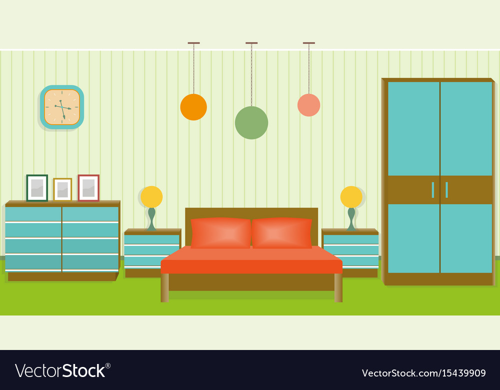Bright bedroom interior in flat style