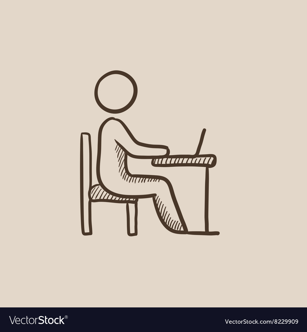 Businessman working at his laptop sketch icon vector image