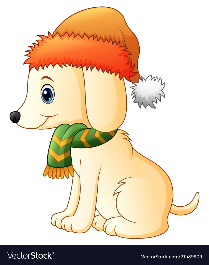 Cartoon dog wearing a scarf and santa hat