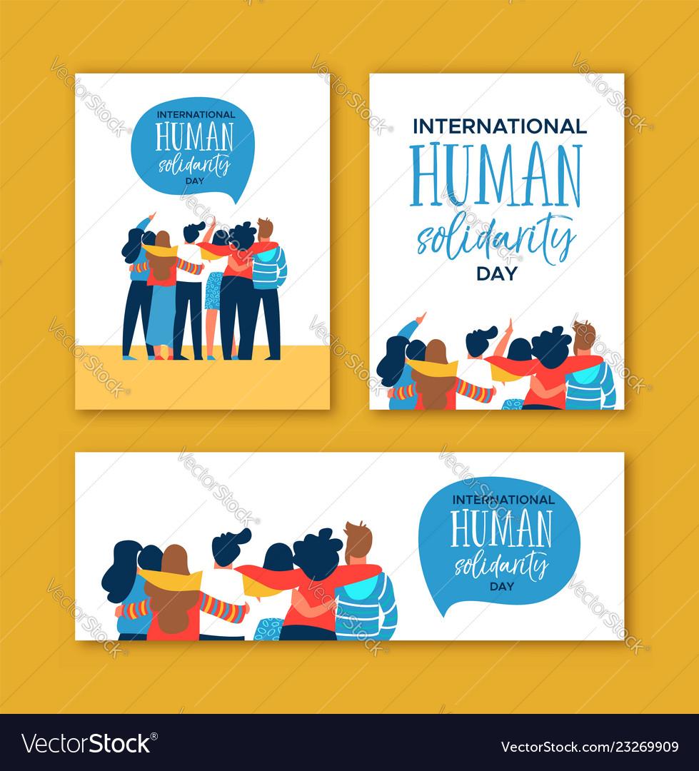 Human solidarity day diverse friend group hug set