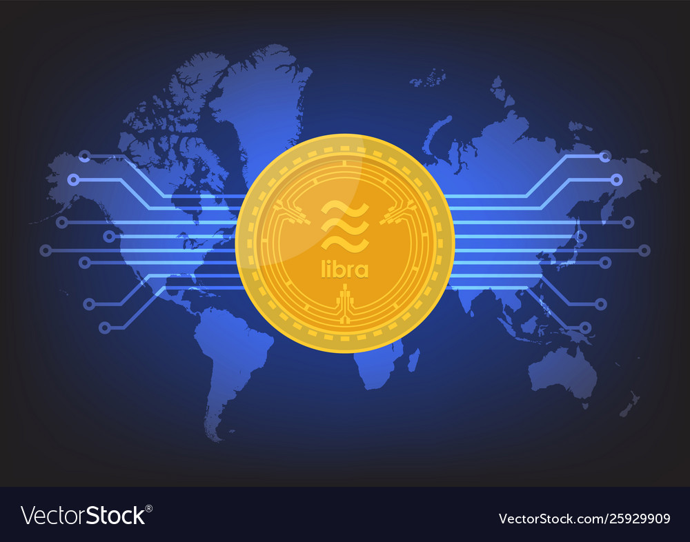 Libra digital currency with world map background