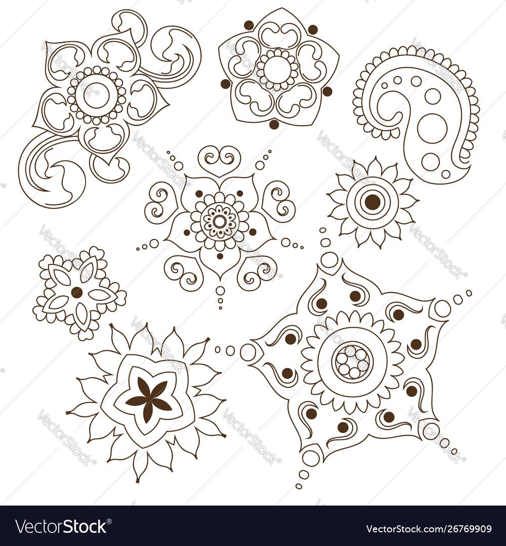 Mehndi flower indian pattern isolated on white