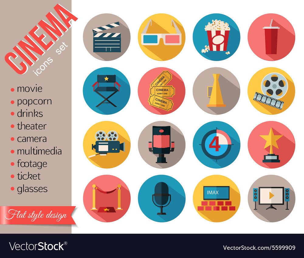 Movie and film icons set Flat style design