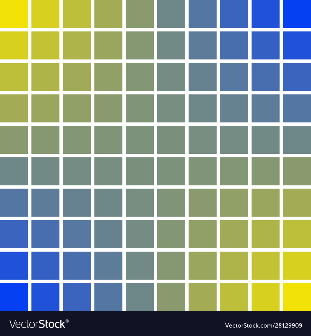 Panels Pixel Art Squares 10 X 10 Blue And Yellow Vector Image
