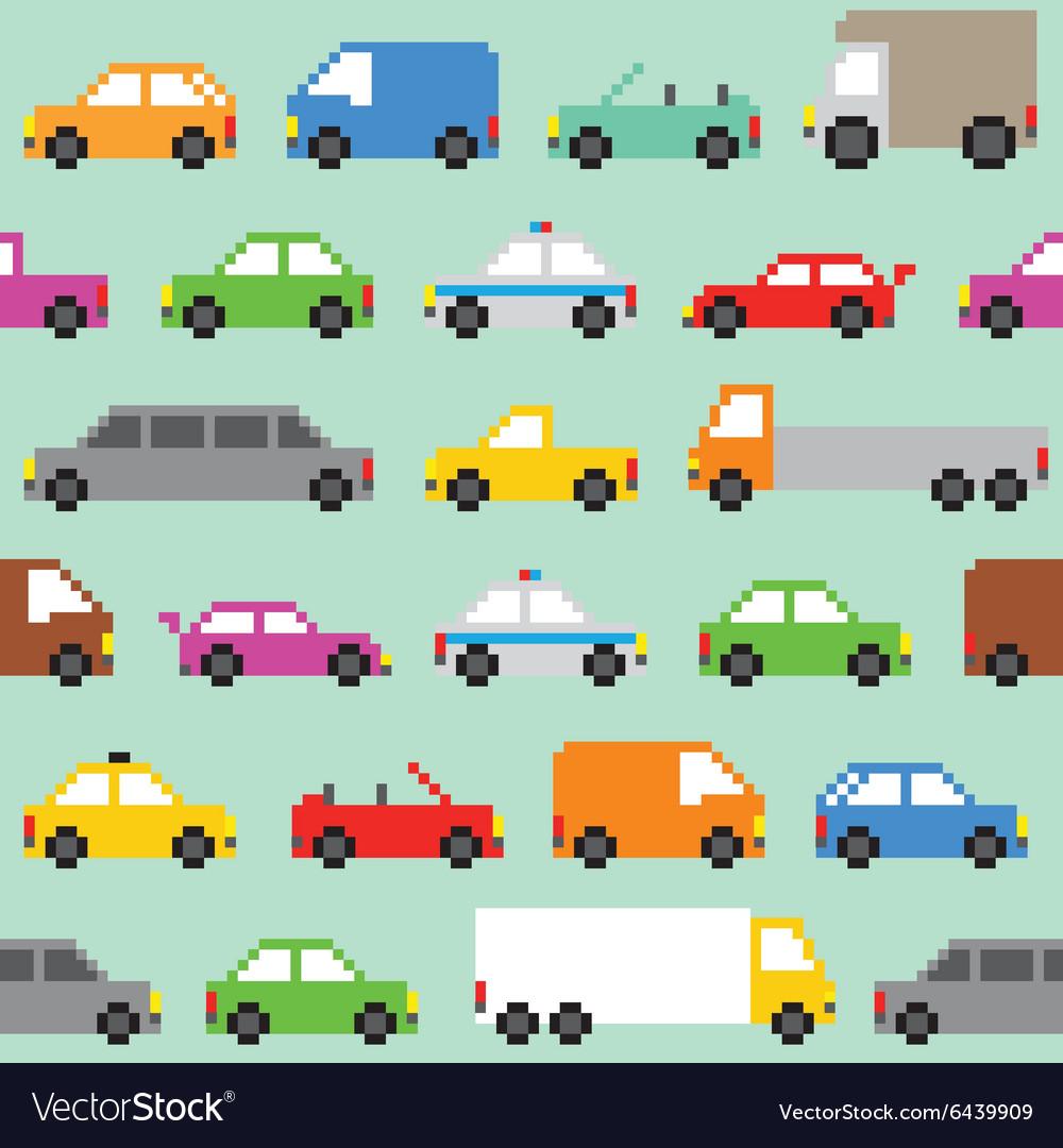 Pixel art traffic seamless pattern