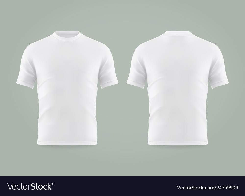 Set isolated white t-shirt or realistic apparel