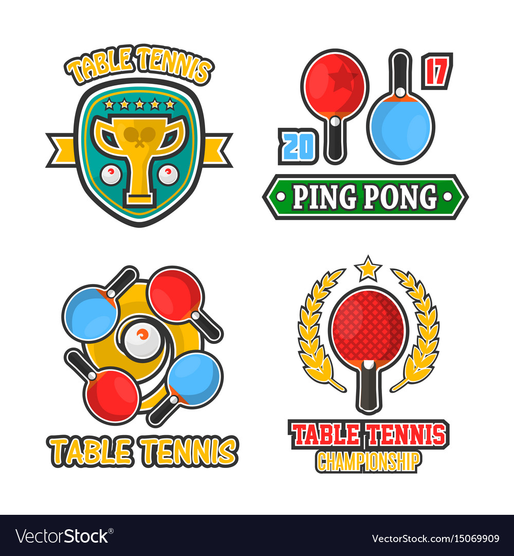 Table tennis colorful logo labels poster on