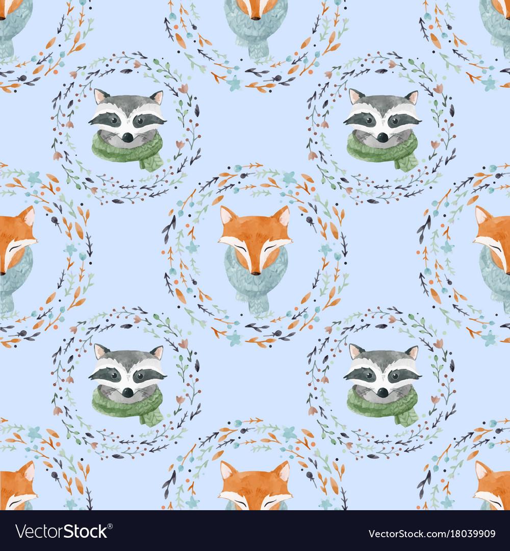 Watercolor cute animal pattern