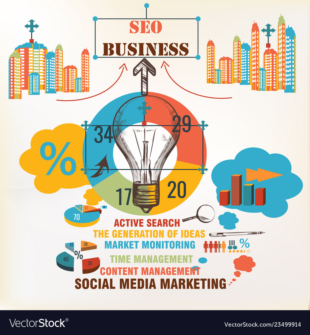 Business infographic background seo social media