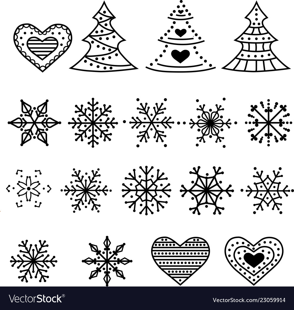 Christmas symbols collection isolated on white
