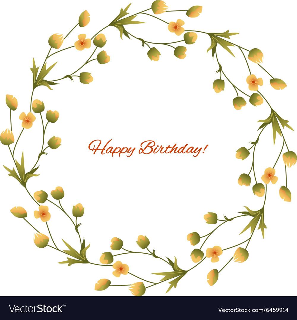 Happy Birthday Frame With Garden Flower Royalty Free Vector