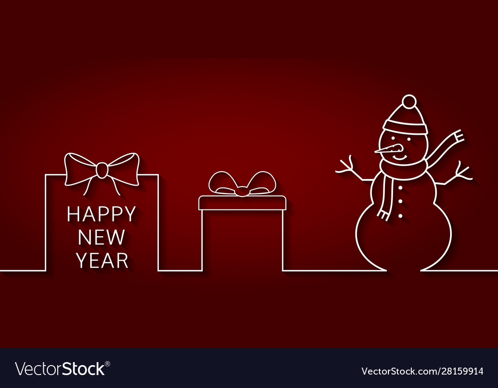 Happy new year banner with outline snowman gift
