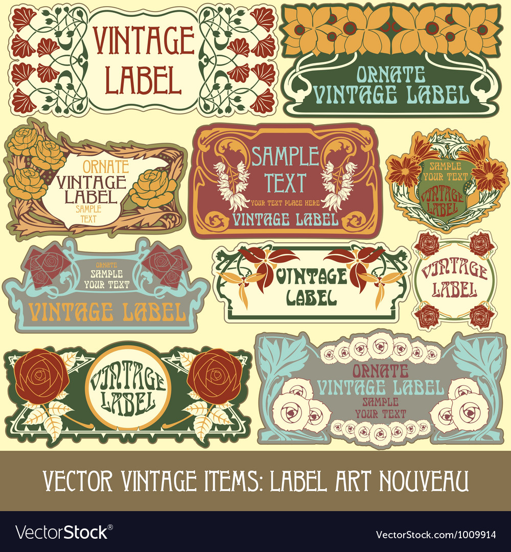 Label art nouveau vector image