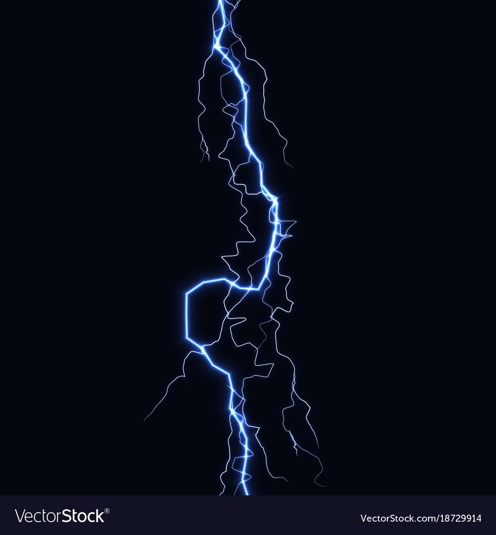 Lightning flash light thunder spark on black