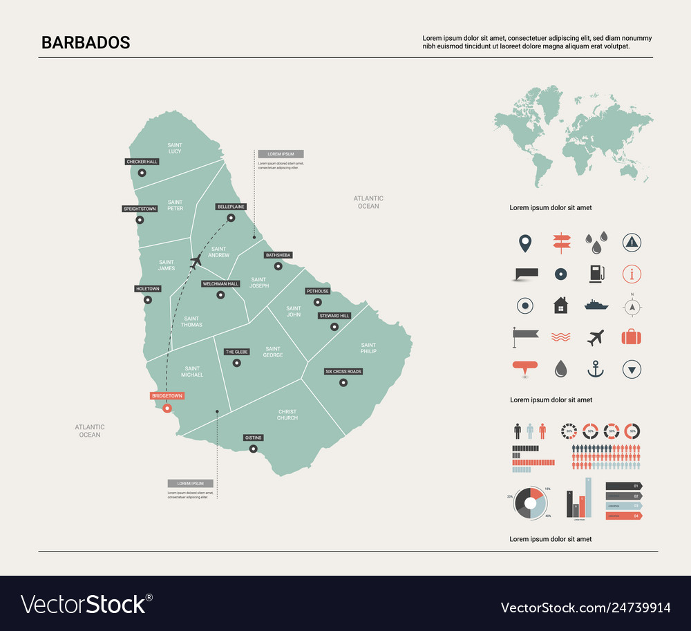Map barbados high detailed country map with