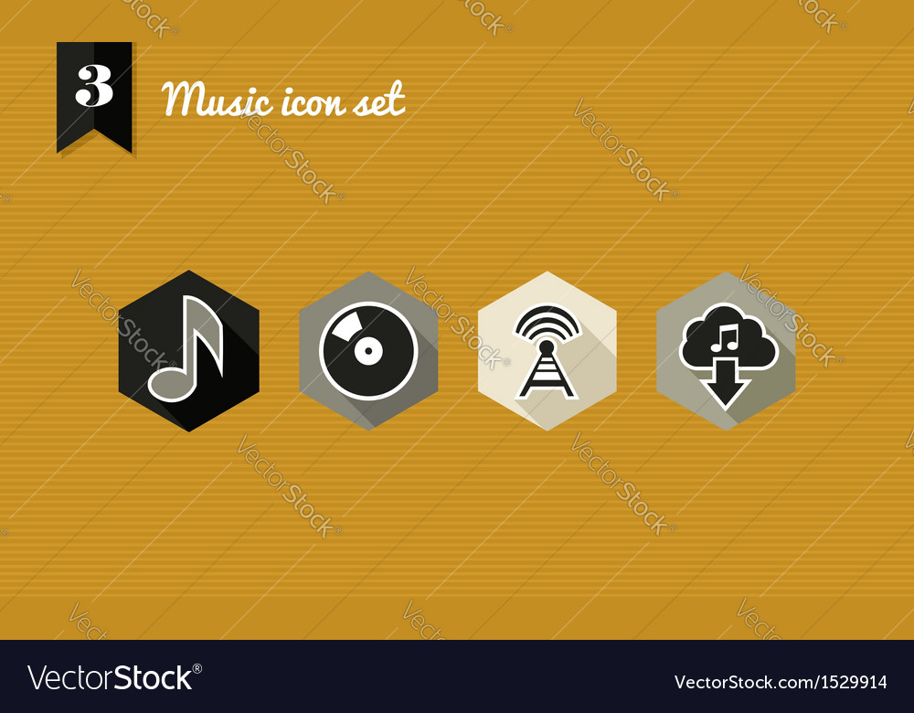 Music flat icons set