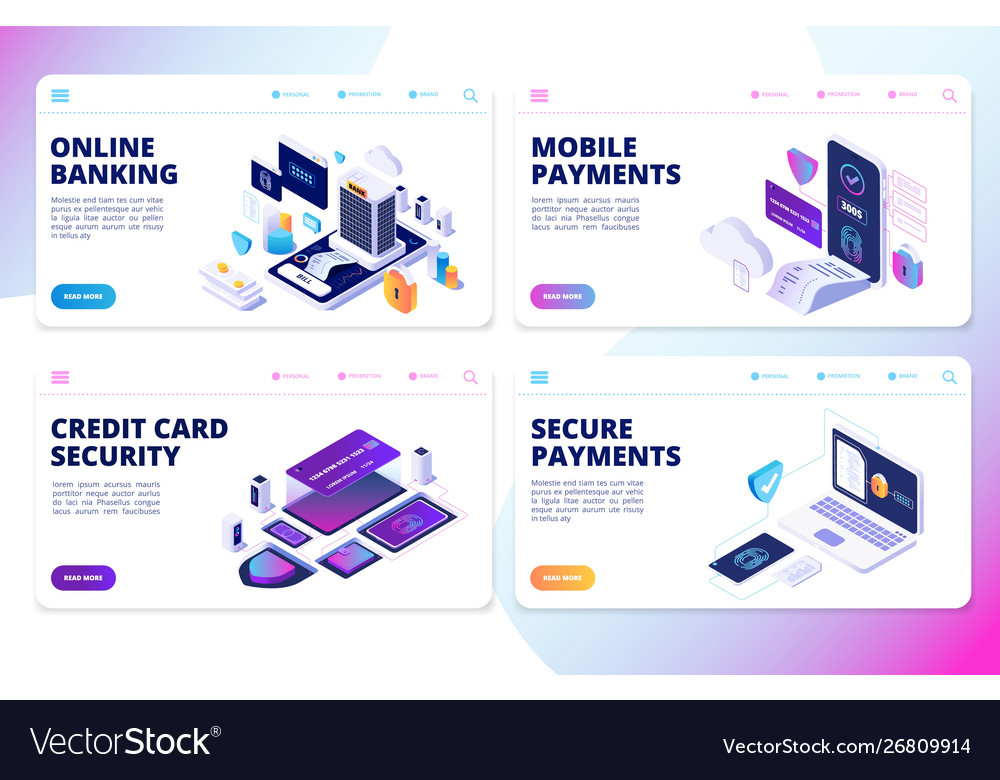 Online banking landing page mobile payments