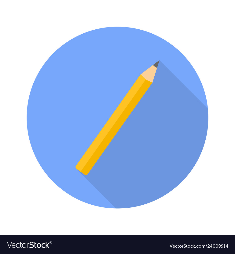 Pencil flat icon with shadow for web design