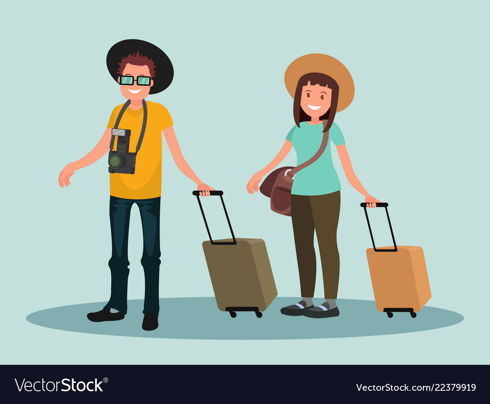 A man and a woman with suitcases