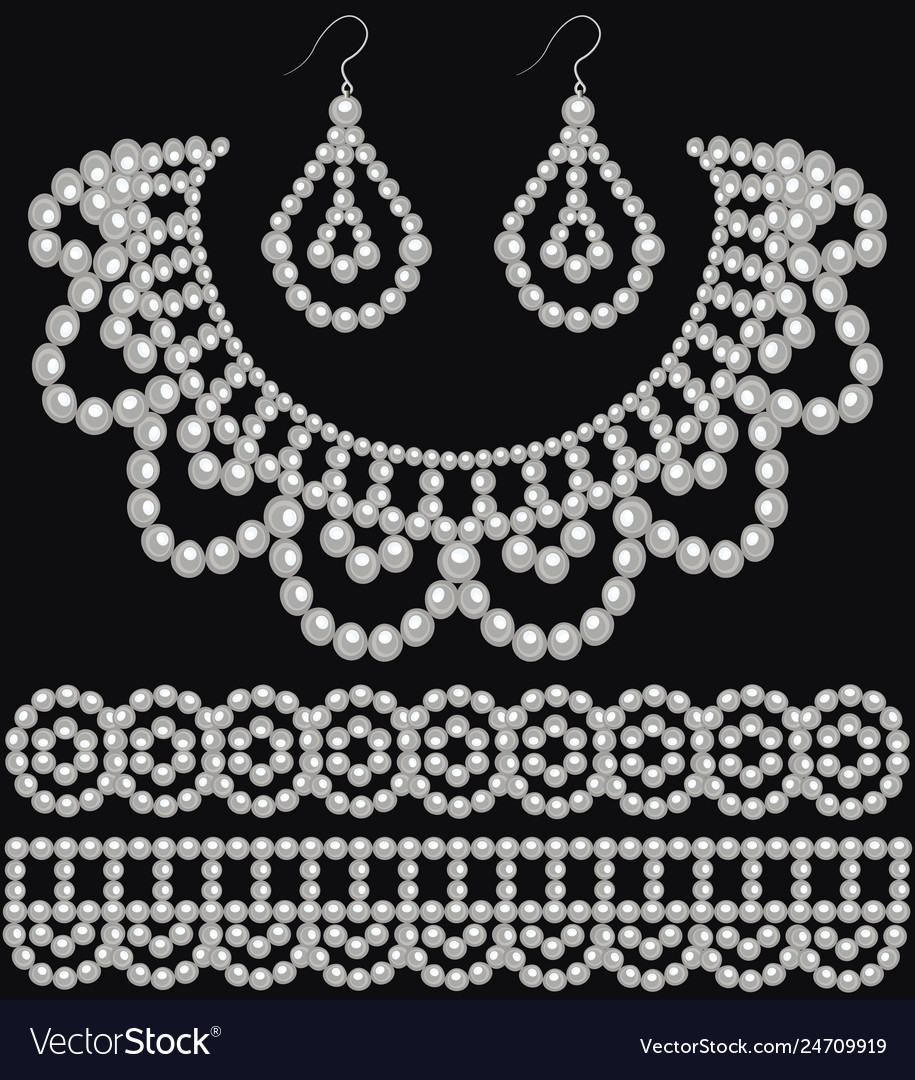 A set of pearl earrings and necklace and ornament
