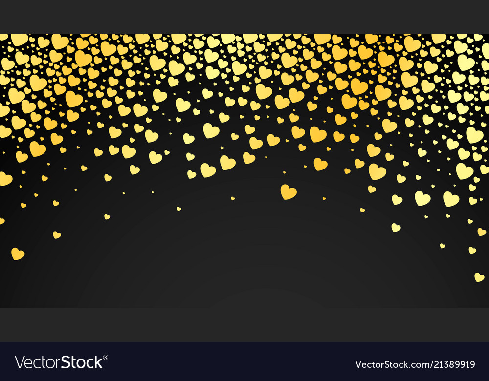 Abstract dark background with golden hearts
