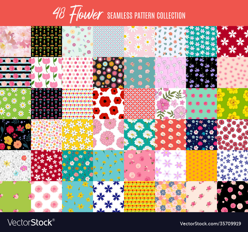 Big collection set 48 seamless flowers pattern