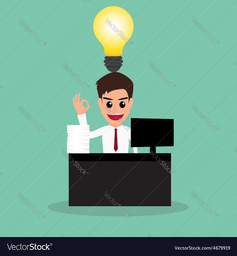 Businessman work hard and have idea