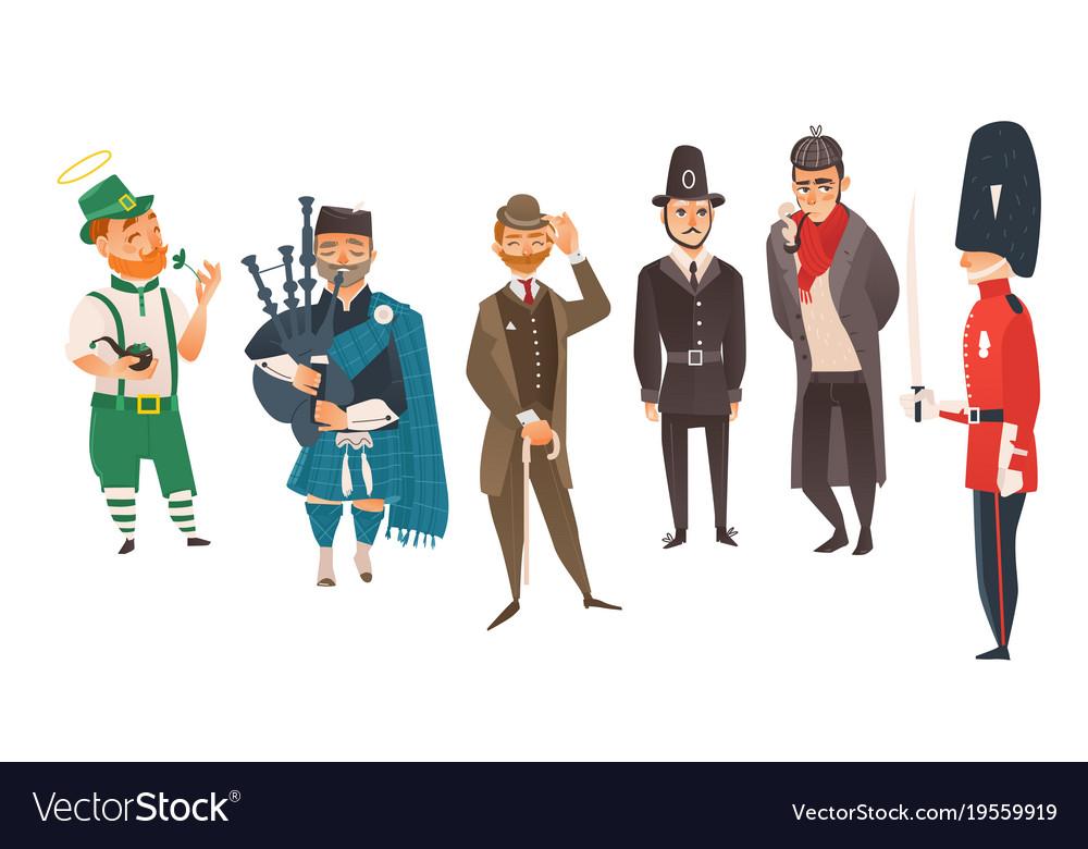 Cartoon people in uk national costumes set