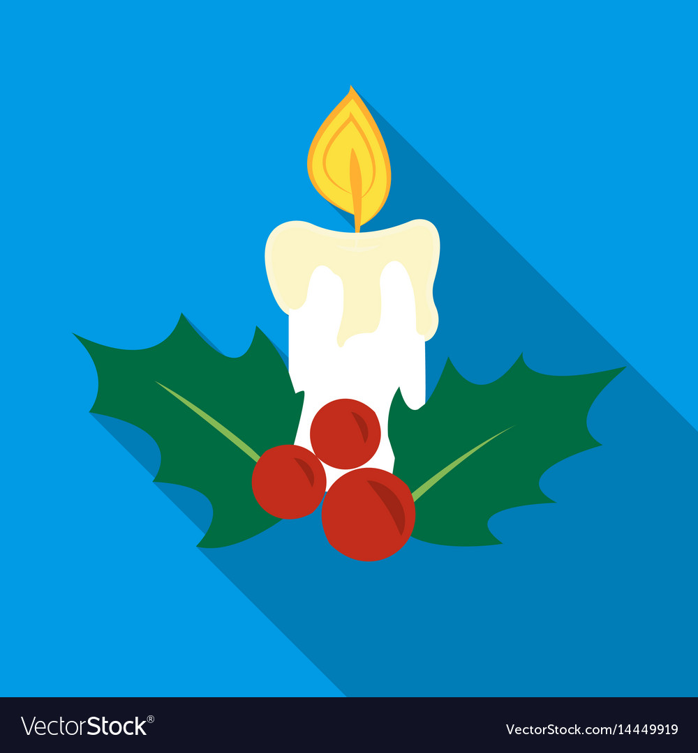 Christmas candle with holly berry icon in flat