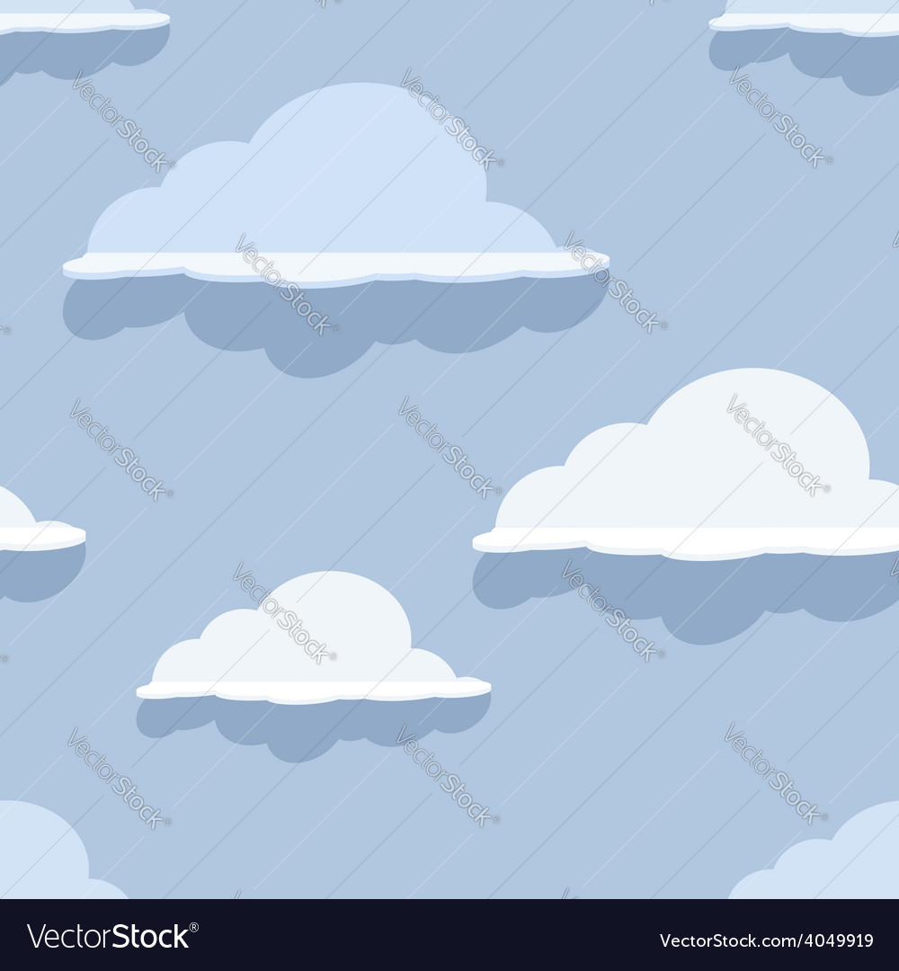 Cloud seamless pattern on blue background