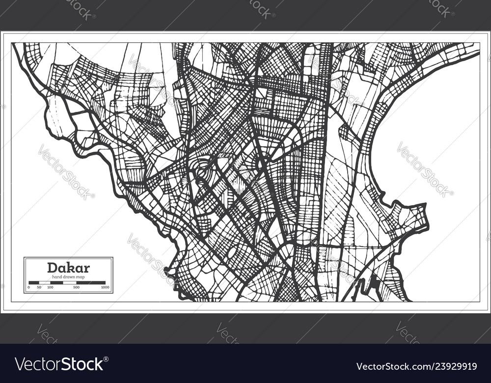 Dakar senegal city map in retro style outline map Vector Image on