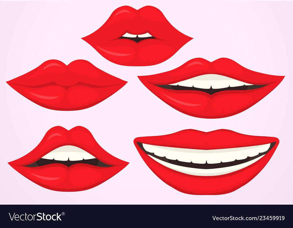 Female lip pouting lips smiling cartoon cute