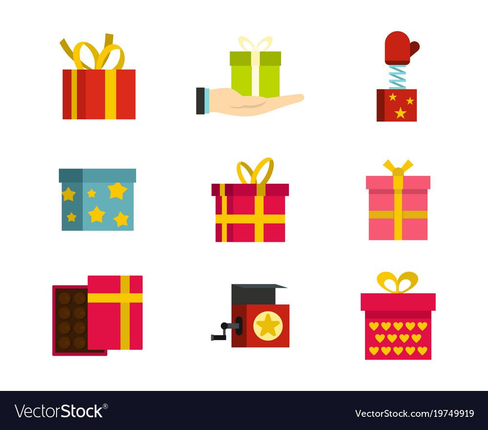 Gift box icon set flat style