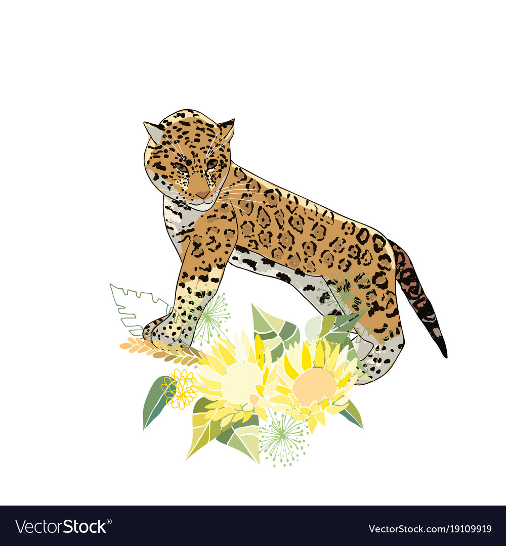 Retro style with flowers and animal