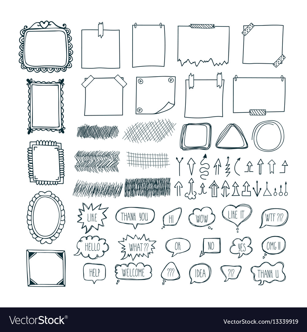 Set of hand drawn arrows speech bubbles frames vector image