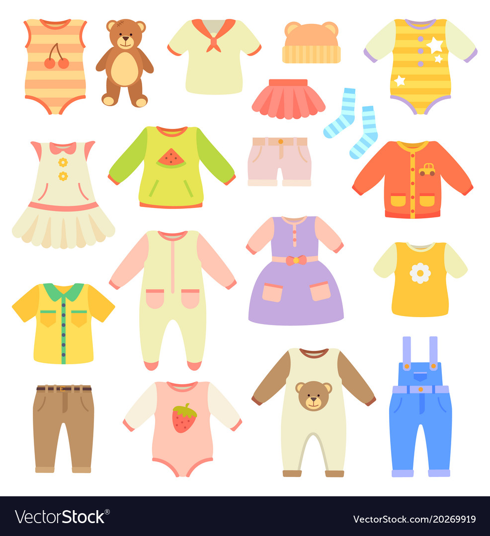 Stylish Baby Clothes Collection For Boys And Girls Vector Image