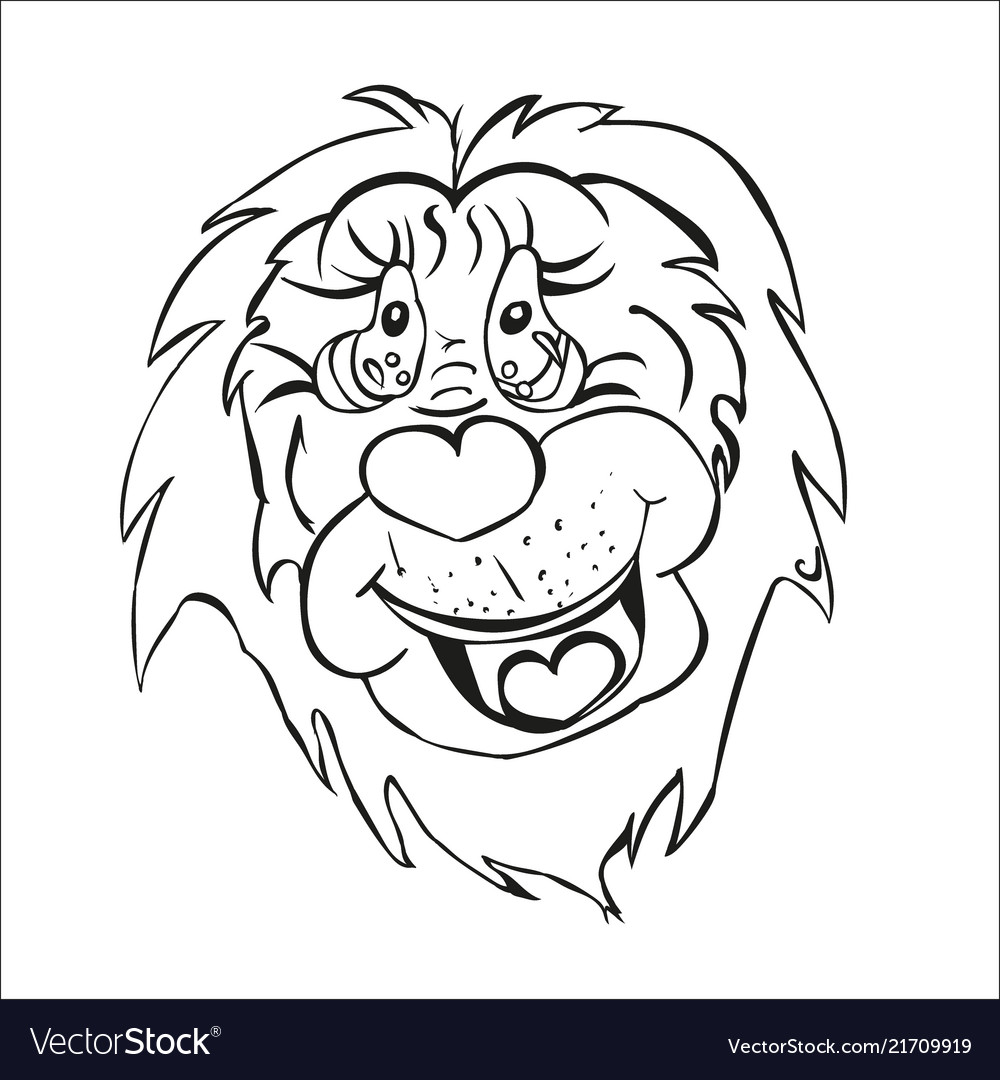 Stylized lion cartoon beast mouth muzzle of an