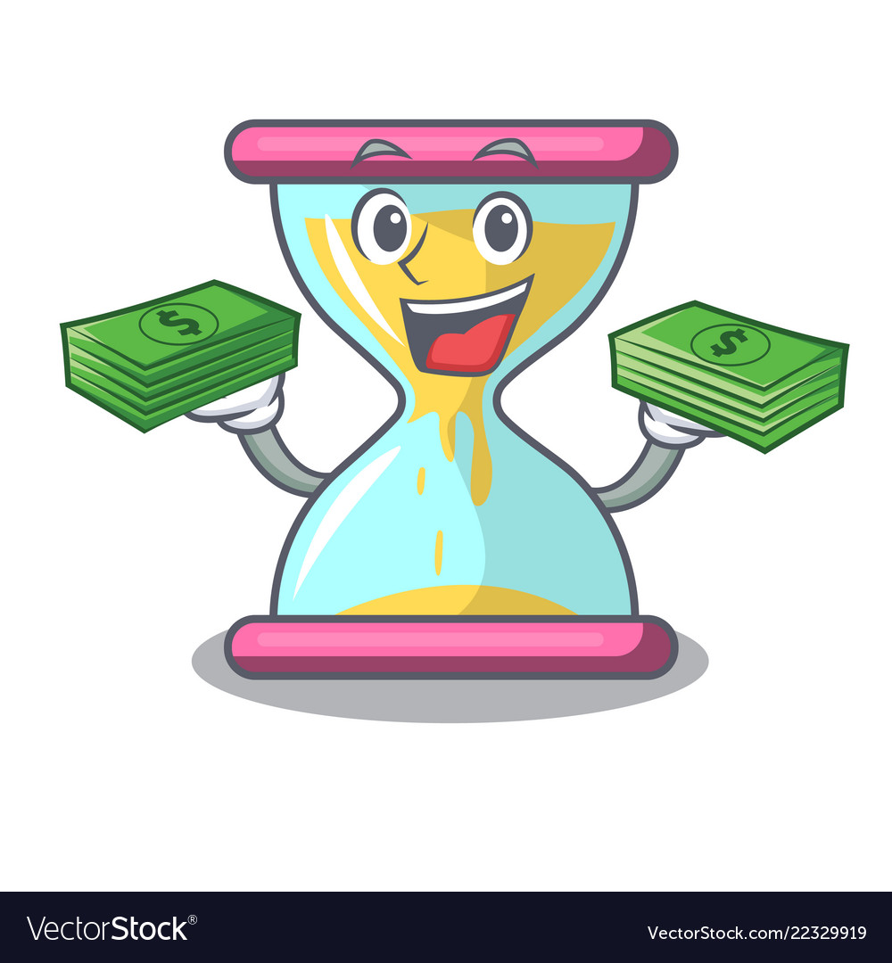 With money modern hourglass on the table cartoon