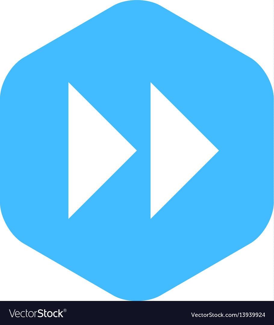 Arrow sign fast forward flat hexagon icon vector image