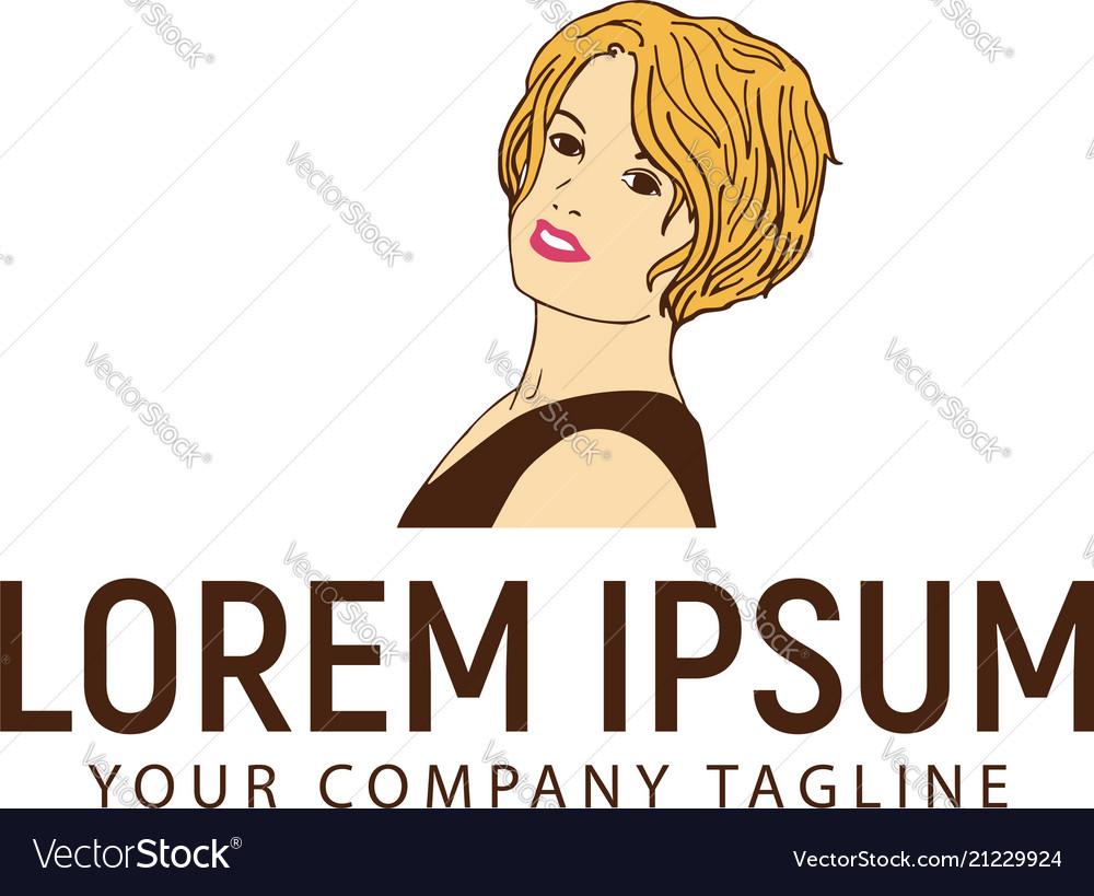 Beautiful woman with stylist hair logo design