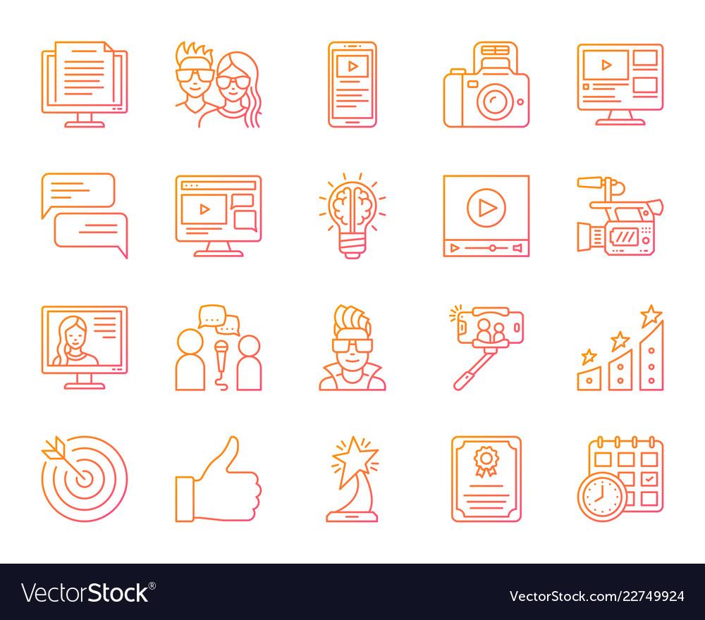 Blogging online simple color line icons set