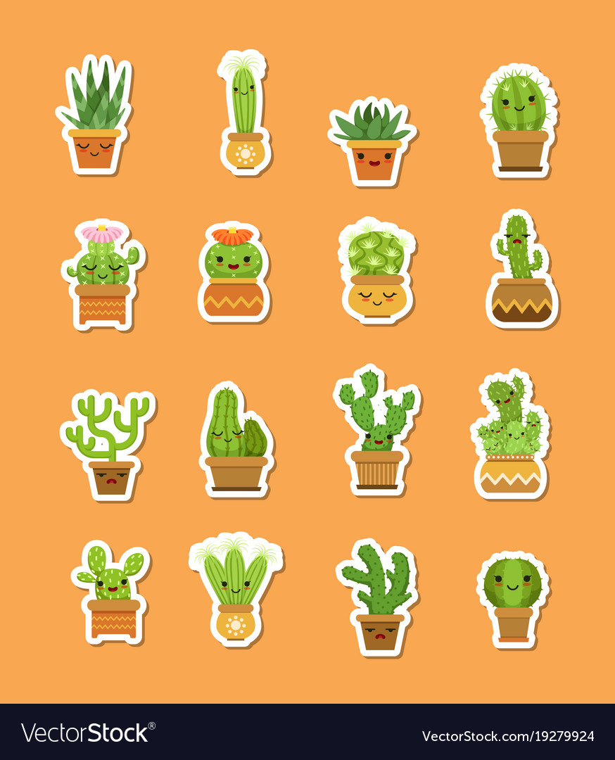 Cacti in pots flat style stickers