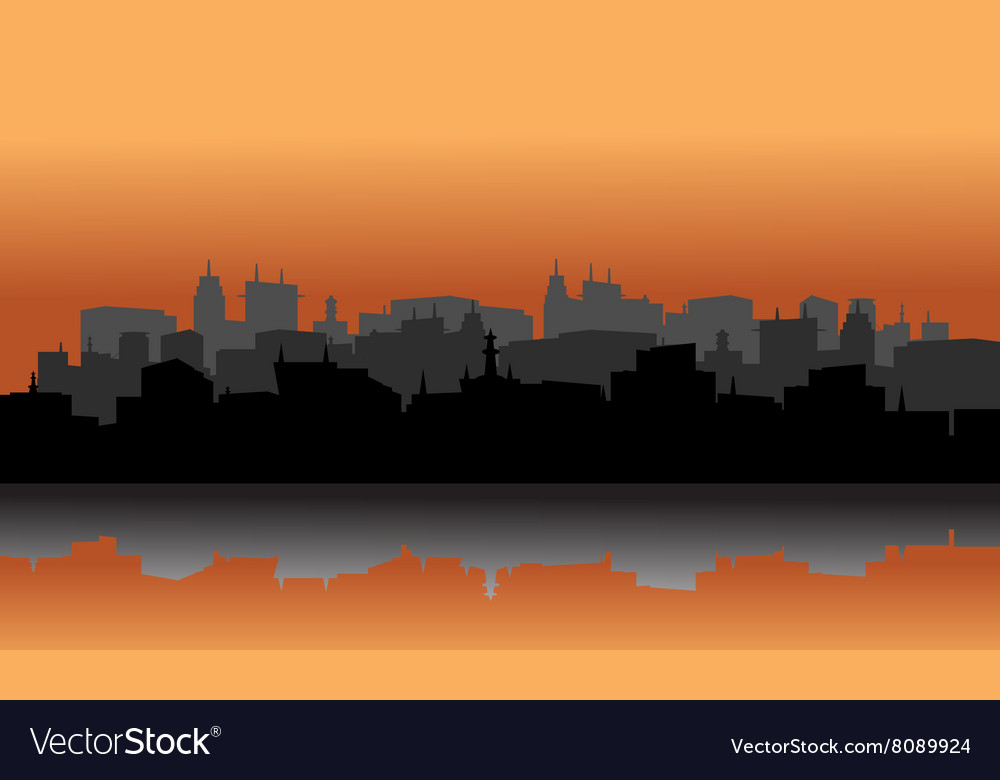 City silhouette reflection of lake