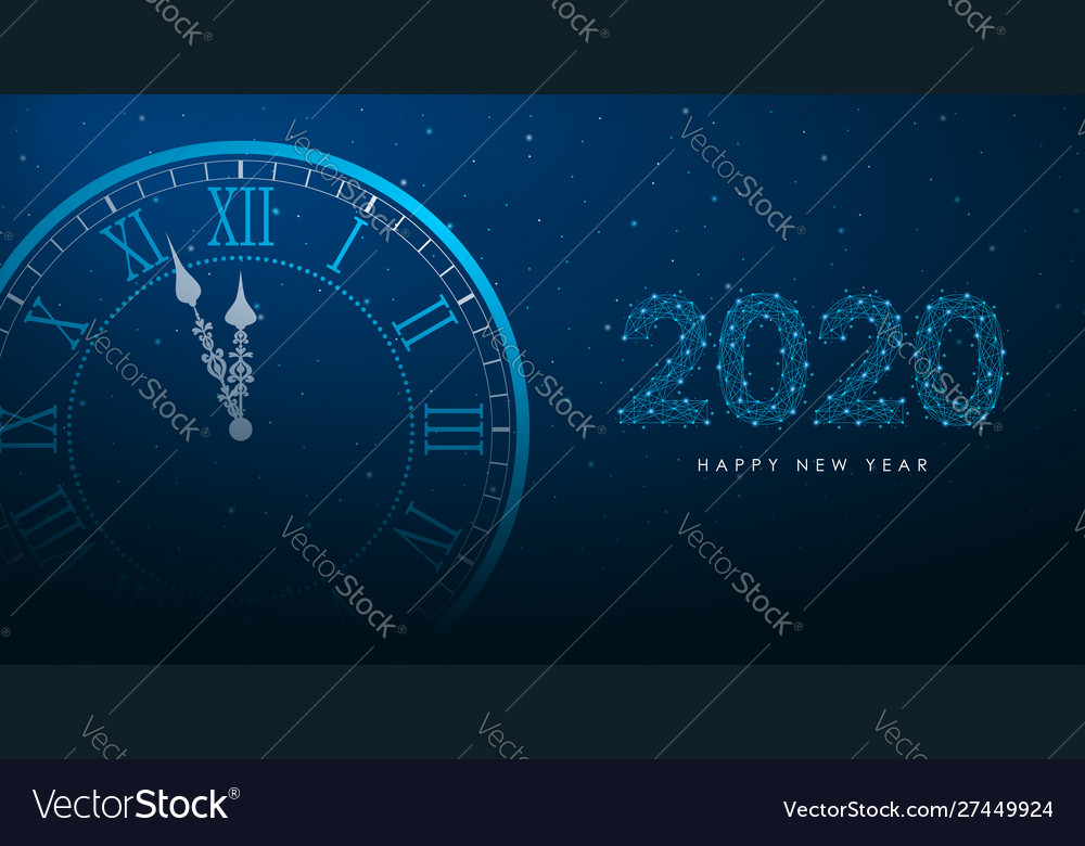 Clock and 2020 number polygonal wireframe
