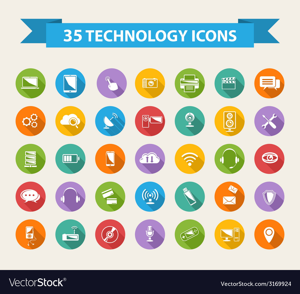 Flat Technology Icons with long shadowBig set