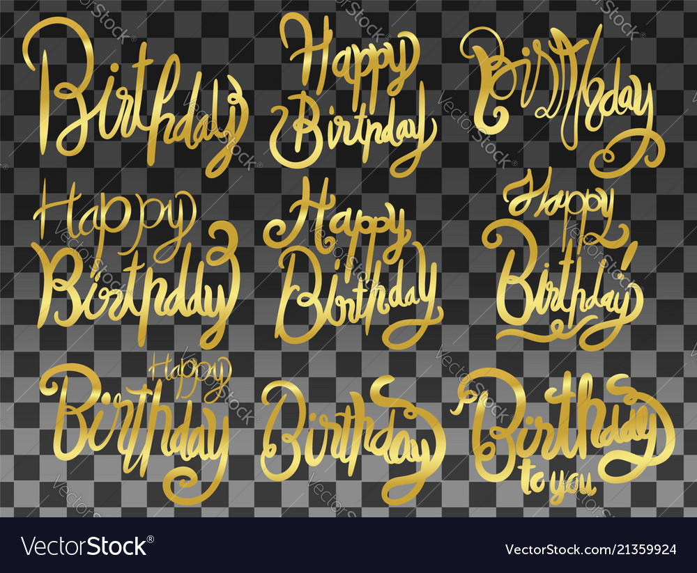 Happy birthday set print design handwritten
