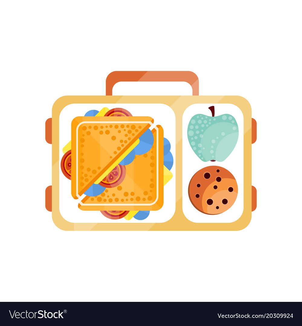 Lunch bag with sandwich chocolate cookie and