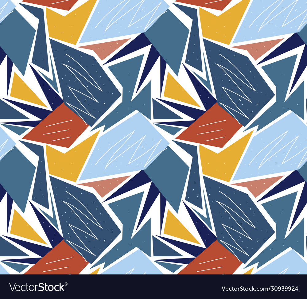 Retro geometric seamless pattern trendy palm leaf