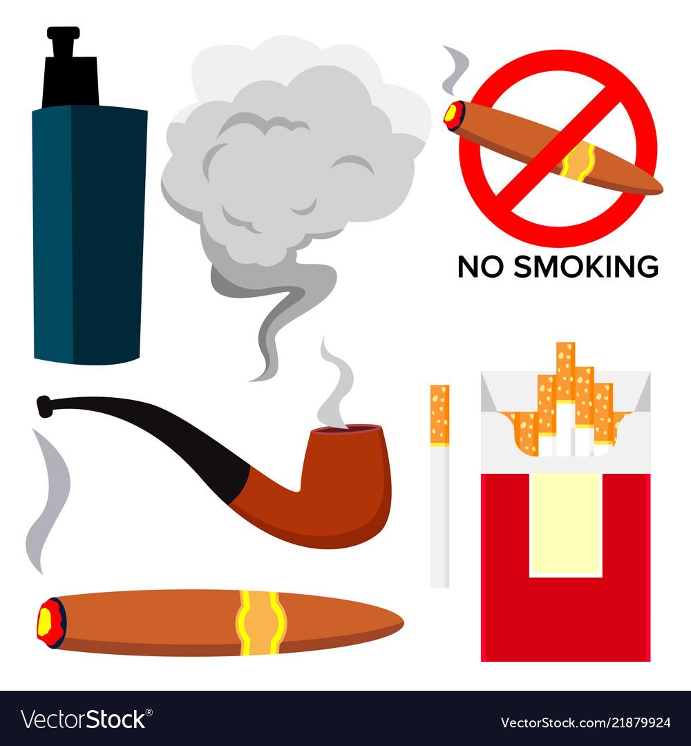 Smoking icons cigarette cigar protect