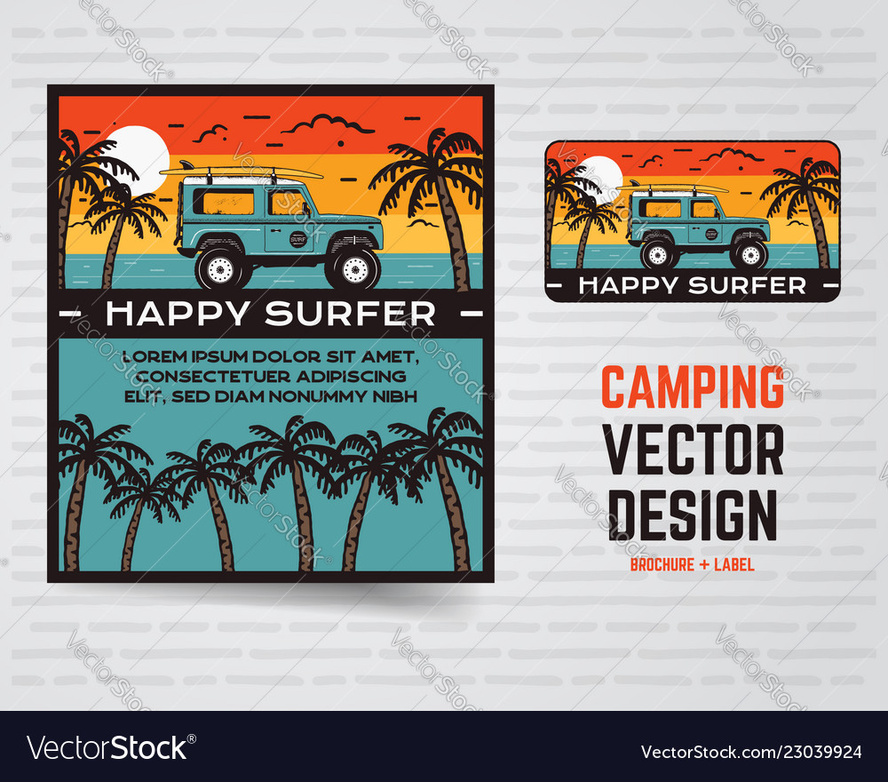 Surf graphics poster and logo happy surfer sign
